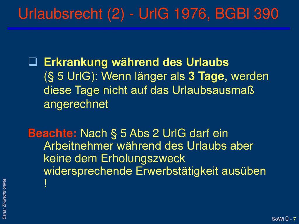 Urlaubsrecht (2) - UrlG 1976, BGBl 390