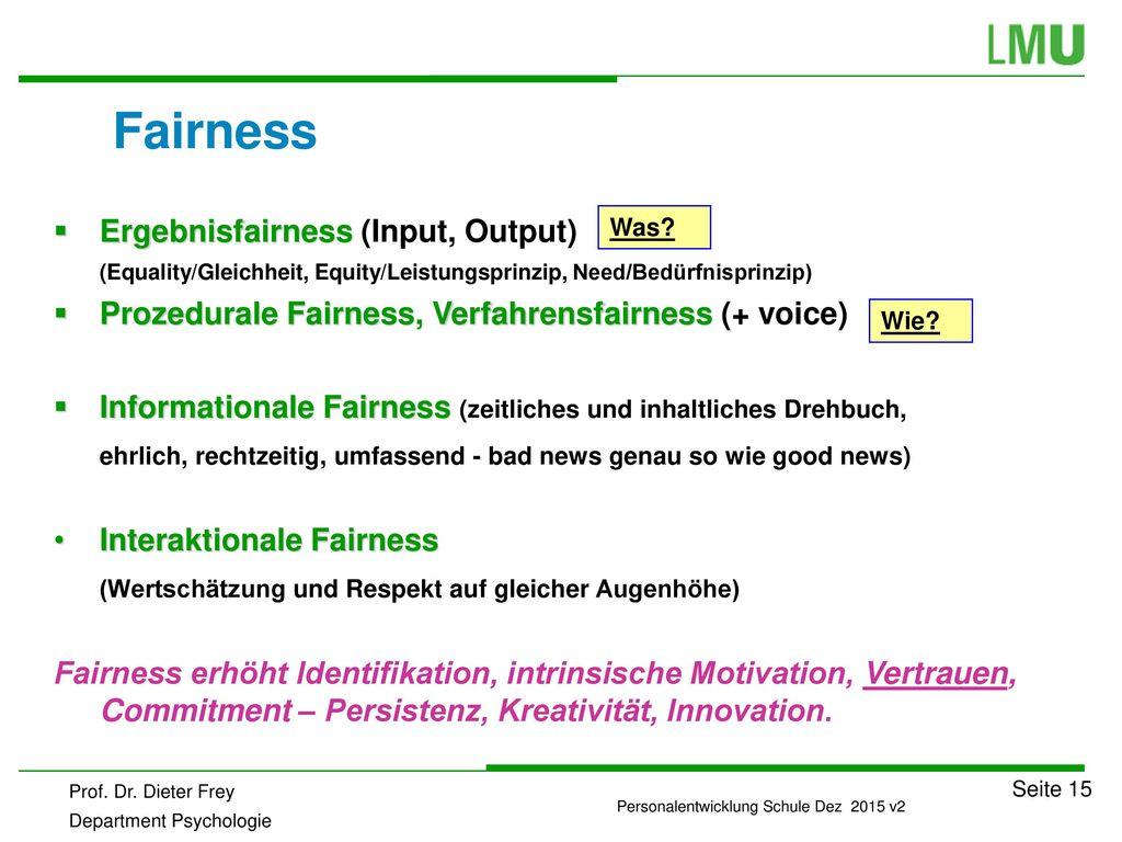Fairness Ergebnisfairness (Input, Output)