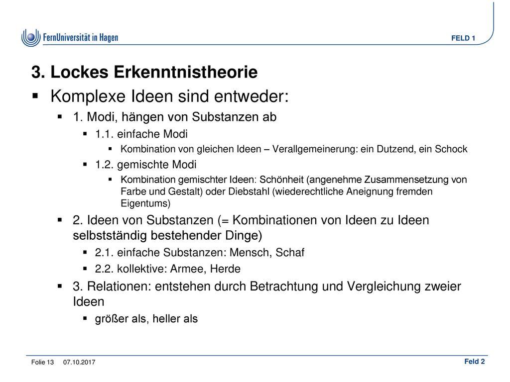 3. Lockes Erkenntnistheorie
