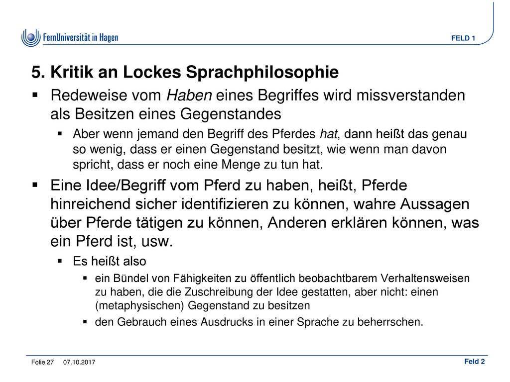 5. Kritik an Lockes Sprachphilosophie