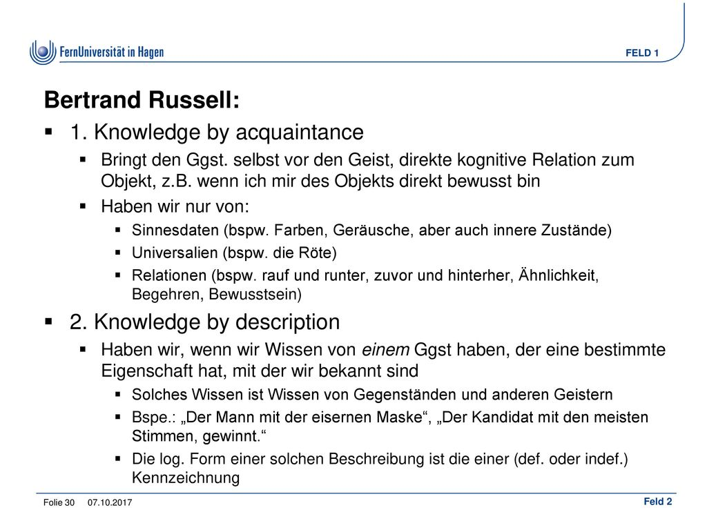 Bertrand Russell: 1. Knowledge by acquaintance