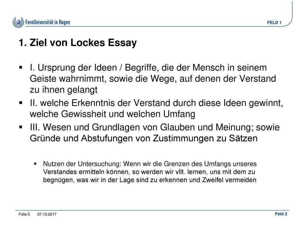 1. Ziel von Lockes Essay
