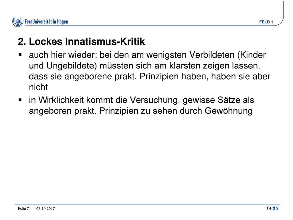 2. Lockes Innatismus-Kritik