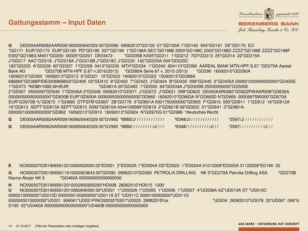 Gattungsstamm – Input Daten