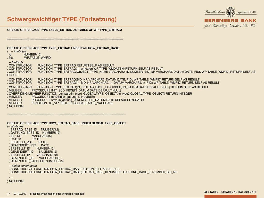 Schwergewichtiger TYPE (Fortsetzung)