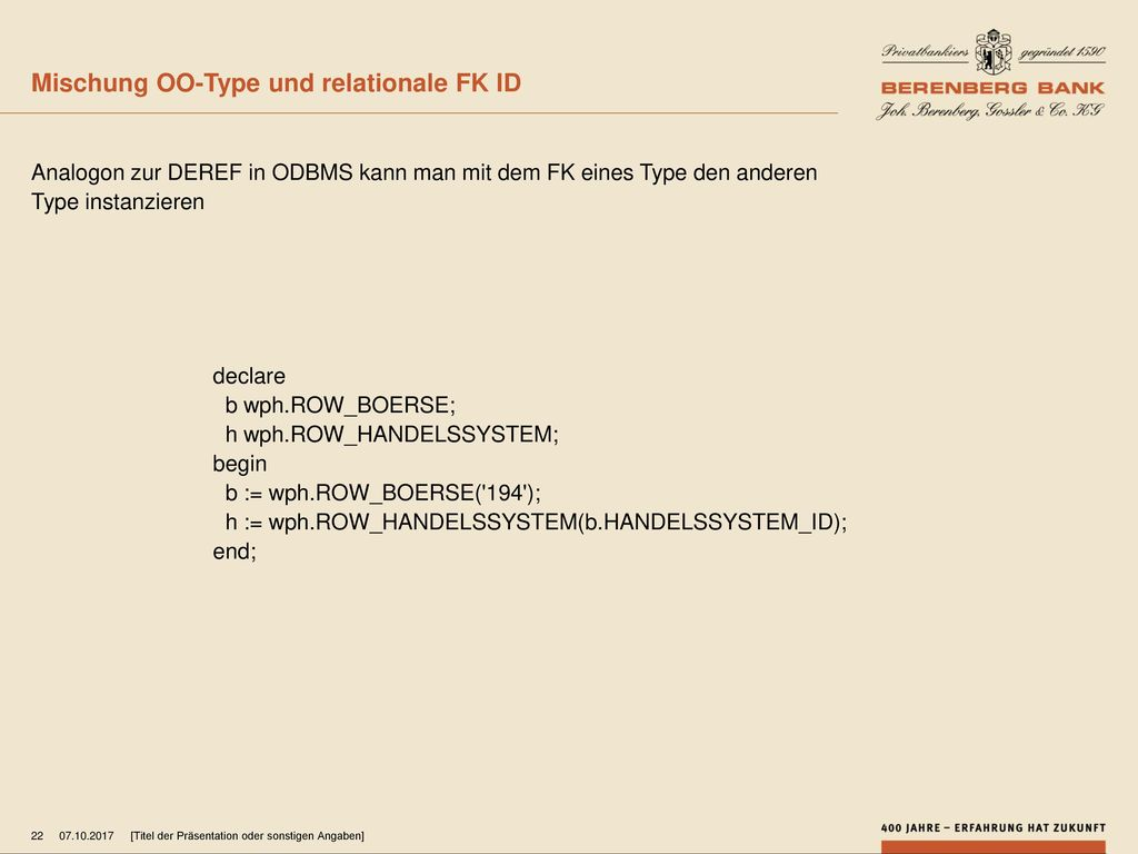 Mischung OO-Type und relationale FK ID