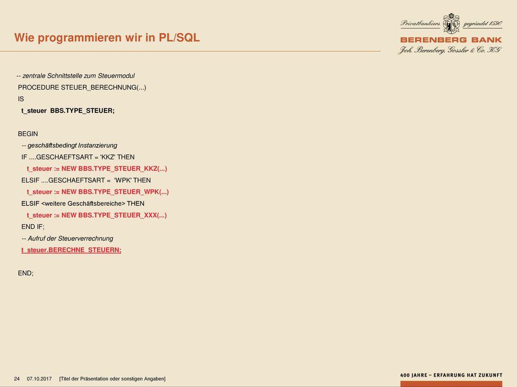 Wie programmieren wir in PL/SQL