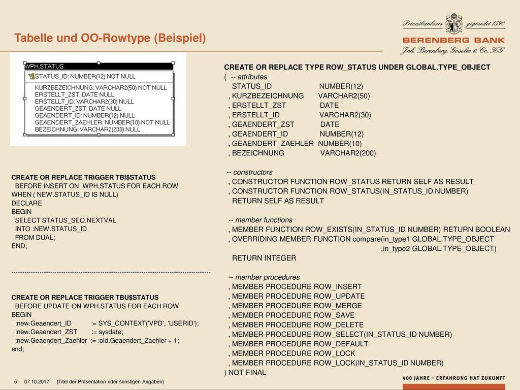 Tabelle und OO-Rowtype (Beispiel)