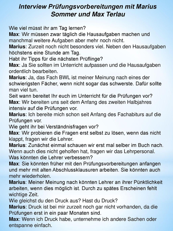 Interview Prüfungsvorbereitungen mit Marius Sommer und Max Terlau