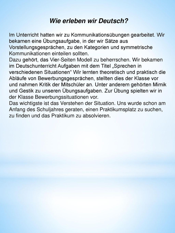 Wie erleben wir Deutsch