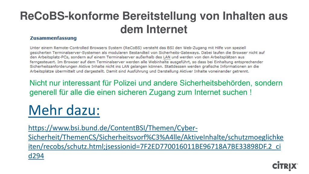 ReCoBS-konforme Bereitstellung von Inhalten aus dem Internet