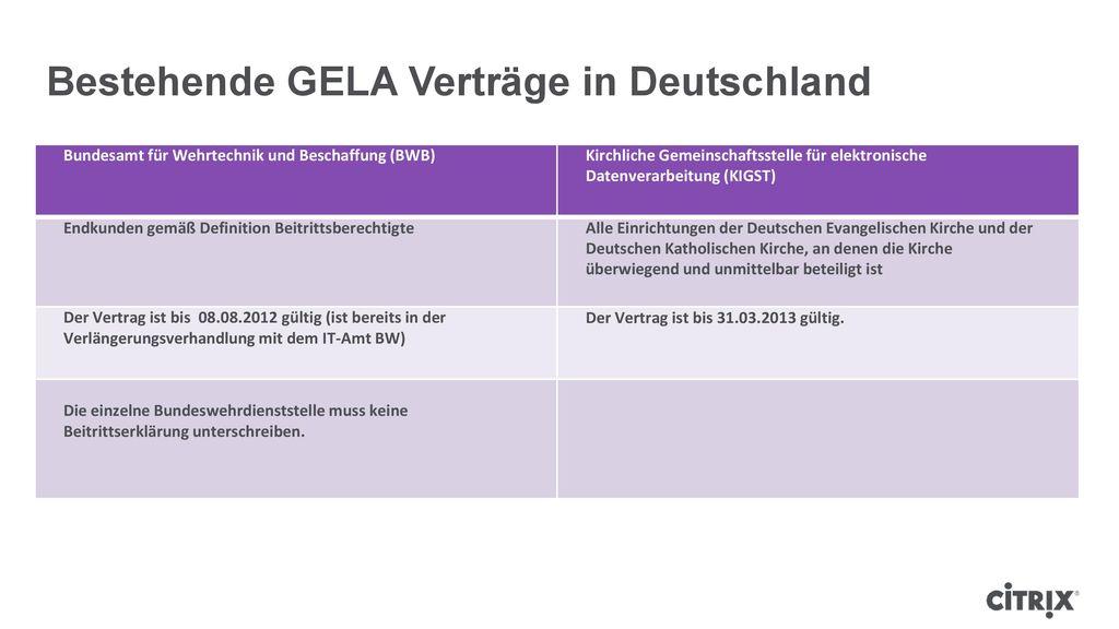 Bestehende GELA Verträge in Deutschland