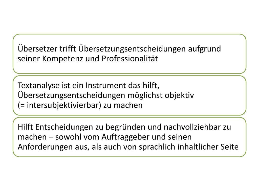 Übersetzer trifft Übersetzungsentscheidungen aufgrund seiner Kompetenz und Professionalität