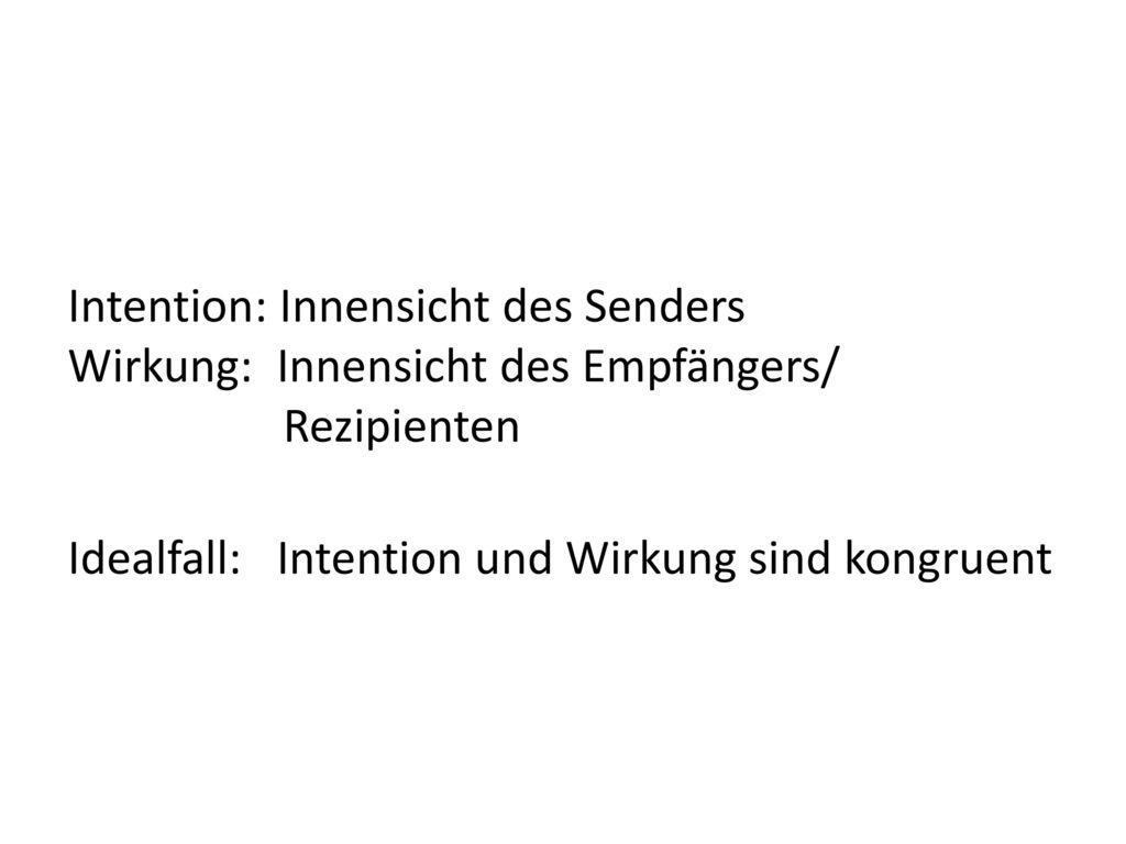 Intention: Innensicht des Senders Wirkung: Innensicht des Empfängers/ Rezipienten Idealfall: Intention und Wirkung sind kongruent