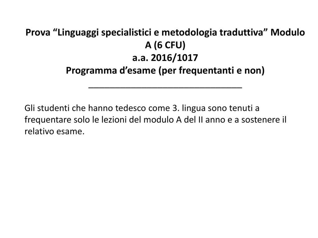 Programma d'esame (per frequentanti e non)