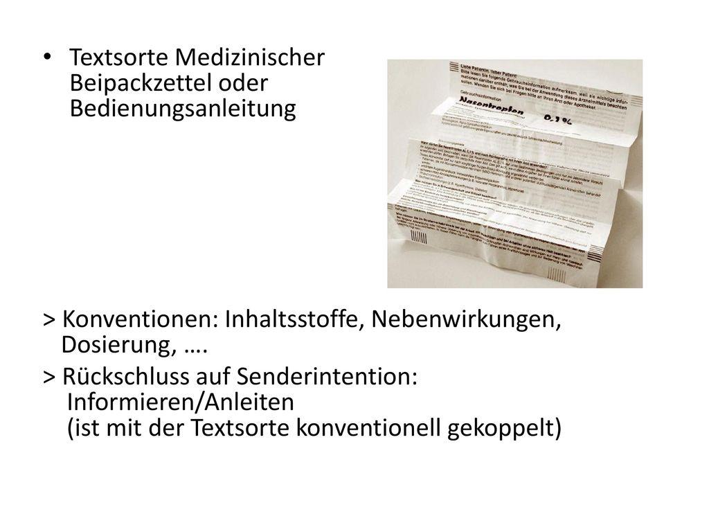 Textsorte Medizinischer Beipackzettel oder Bedienungsanleitung