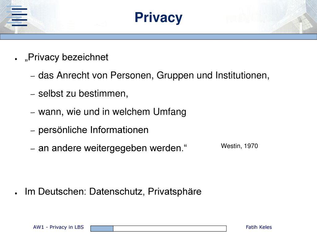 "Privacy ""Privacy bezeichnet"