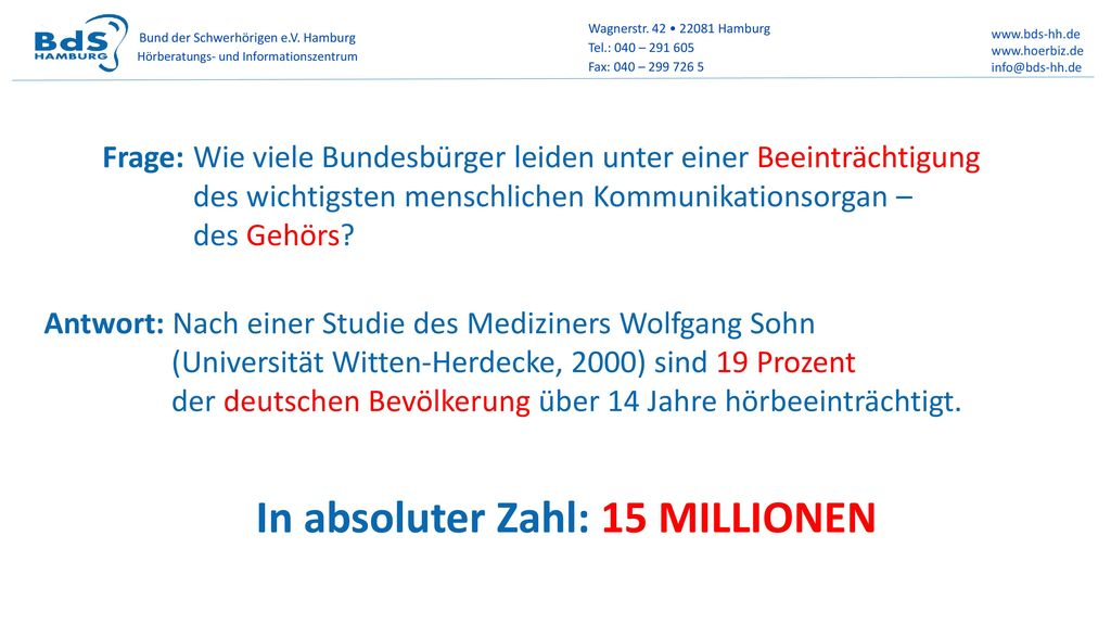 In absoluter Zahl: 15 MILLIONEN