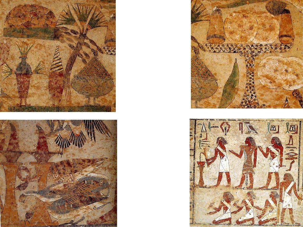 Bildausschnitte von einem Opfertisch und der versammelten Priesterschaft, Malereien in der Grabkammer von Chnum-hotep II (ca.