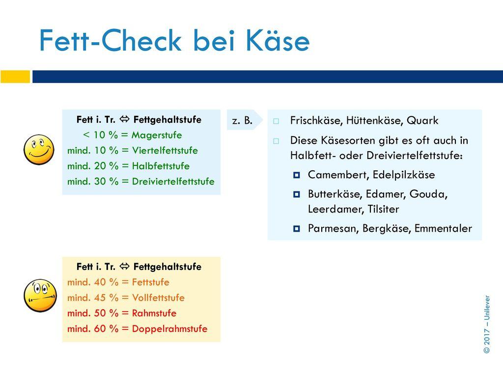 Fett-Check bei Käse z. B. Frischkäse, Hüttenkäse, Quark