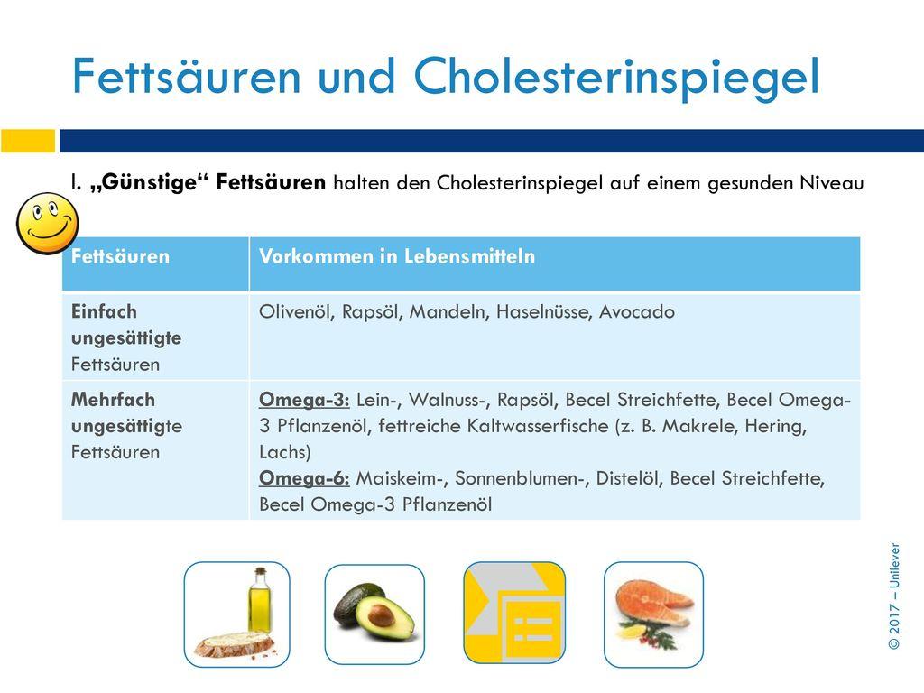 Fettsäuren und Cholesterinspiegel