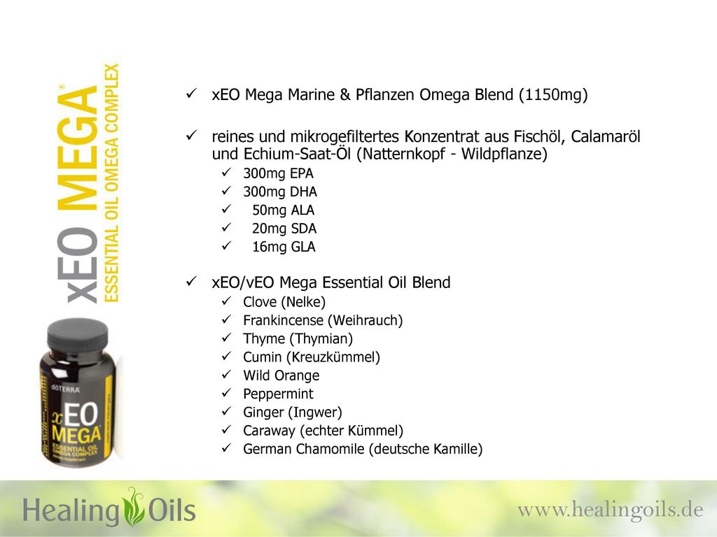 www.healingoils.de xEO Mega Marine & Pflanzen Omega Blend (1150mg)
