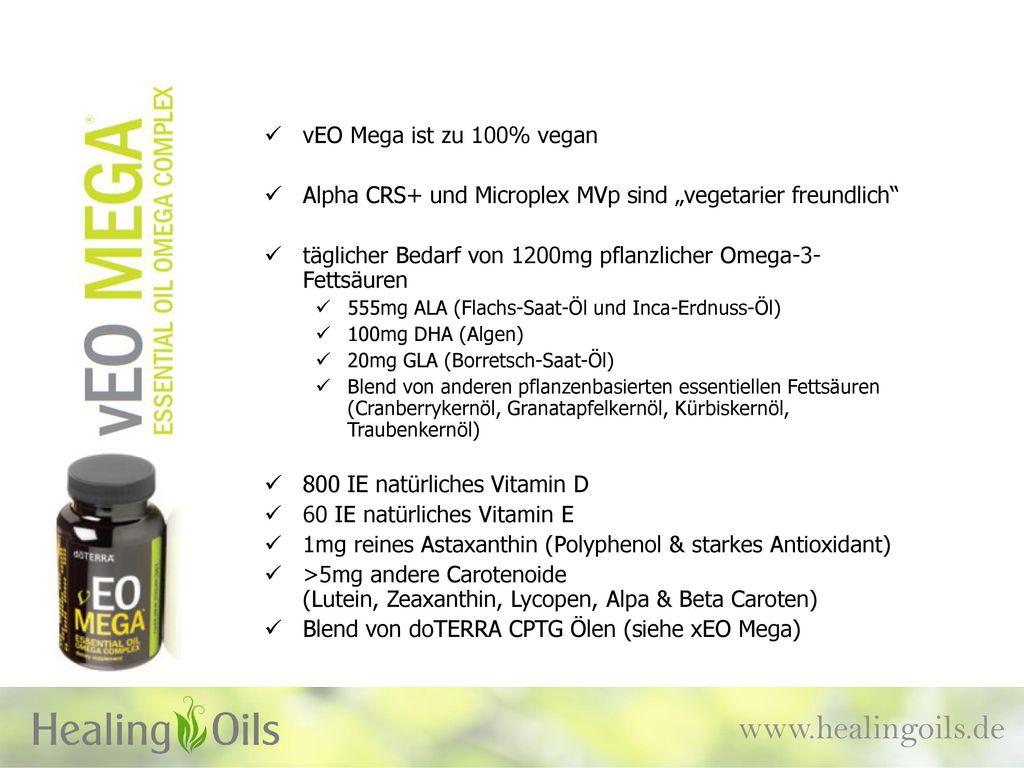 www.healingoils.de vEO Mega ist zu 100% vegan