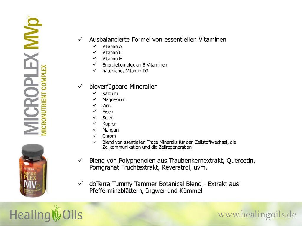 www.healingoils.de Ausbalancierte Formel von essentiellen Vitaminen