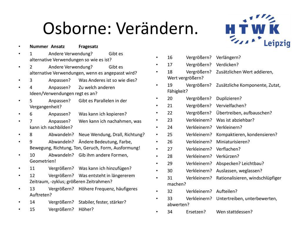 Osborne: Verändern. Nummer Ansatz Fragesatz