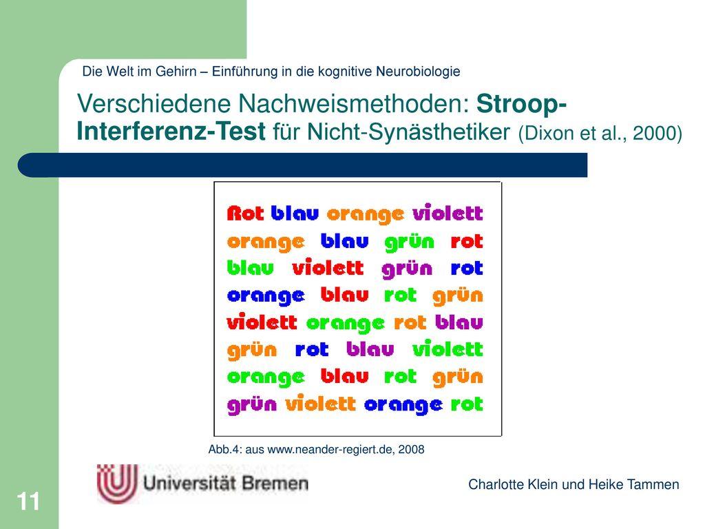 Verschiedene Nachweismethoden: Stroop-Interferenz-Test für Nicht-Synästhetiker (Dixon et al., 2000)