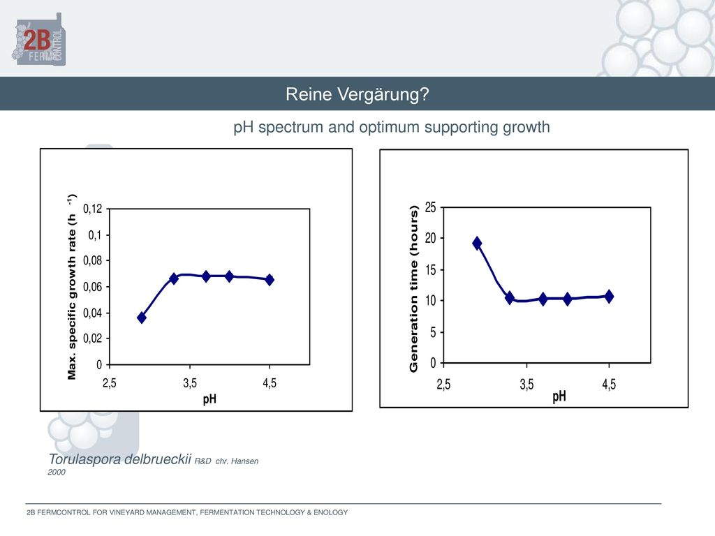 Reine Vergärung pH spectrum and optimum supporting growth