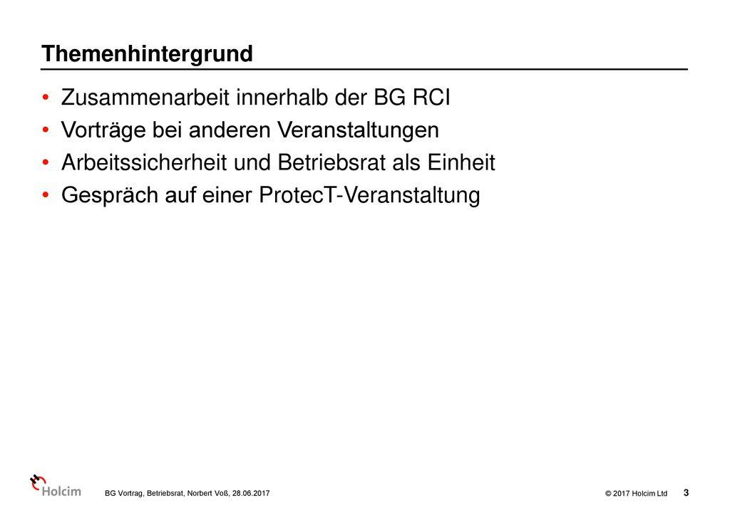 Zusammenarbeit innerhalb der BG RCI