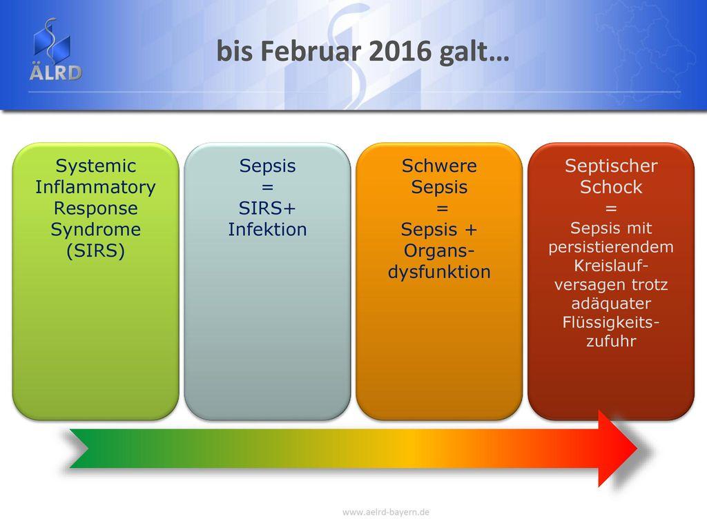 bis Februar 2016 galt… Systemic Inflammatory Response Syndrome (SIRS)