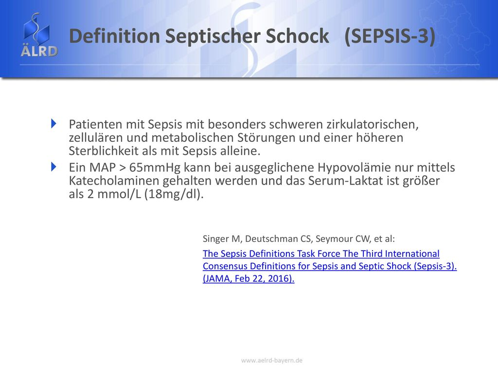 Definition Septischer Schock (SEPSIS-3)