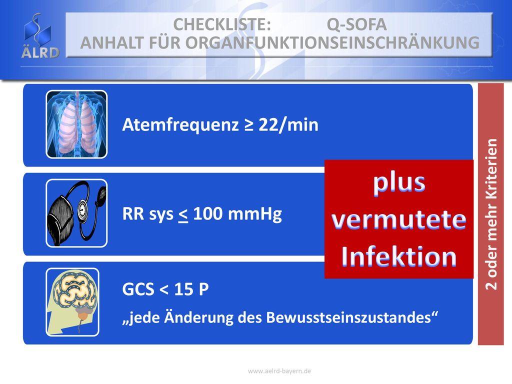 Checkliste: Q-SOFA Anhalt für Organfunktionseinschränkung