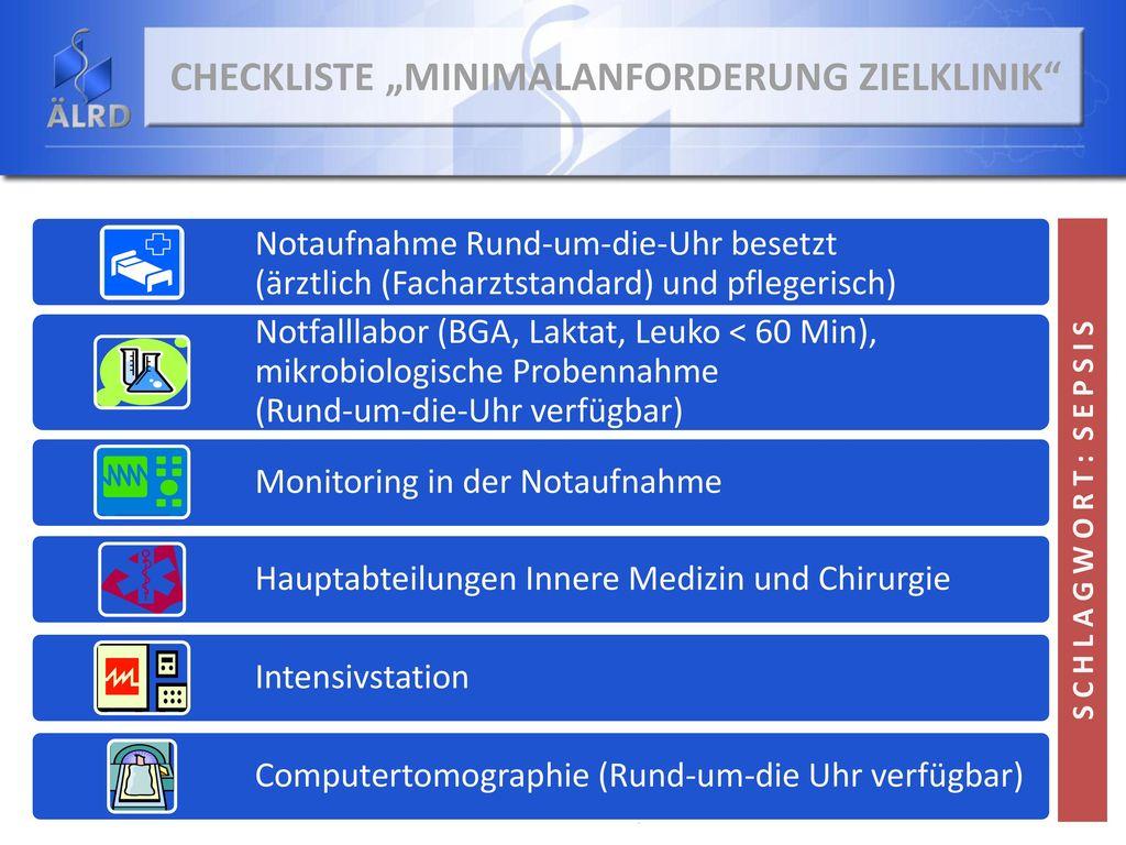 """Checkliste """"Minimalanforderung Zielklinik"""