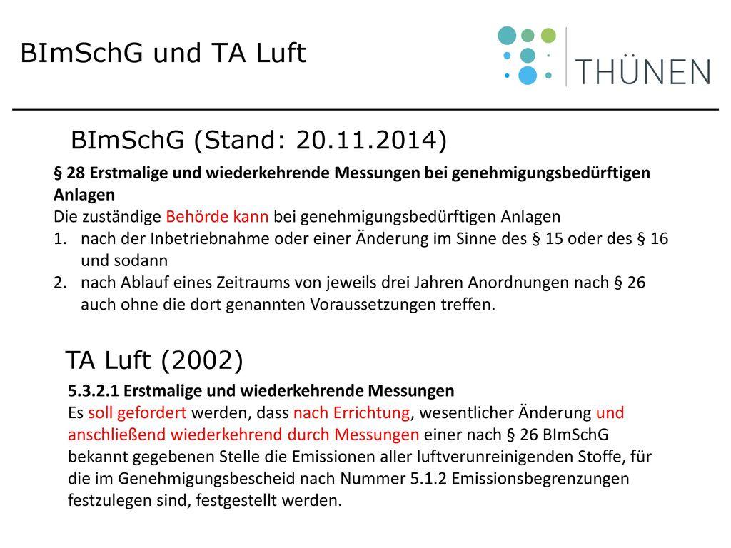 BImSchG und TA Luft BImSchG (Stand: 20.11.2014) TA Luft (2002)