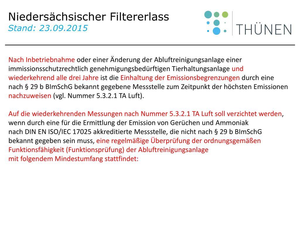 Niedersächsischer Filtererlass Stand: 23.09.2015