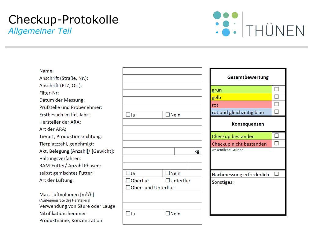 Checkup-Protokolle Allgemeiner Teil