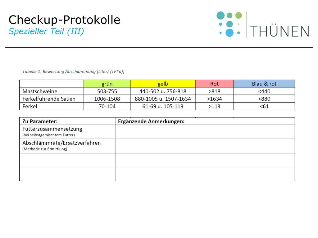 Checkup-Protokolle Spezieller Teil (III)
