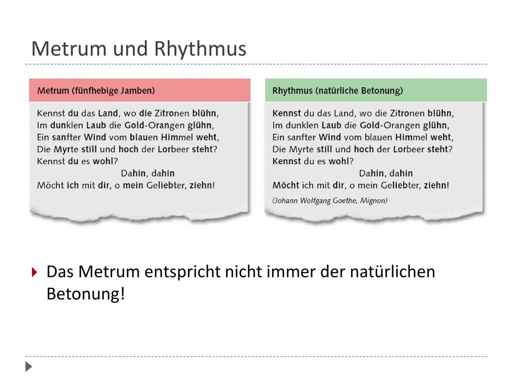 Metrum bestimmen Faustregeln für die Betonung:
