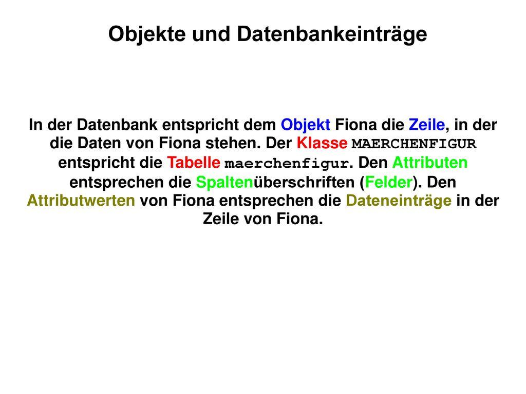 Objekte und Datenbankeinträge