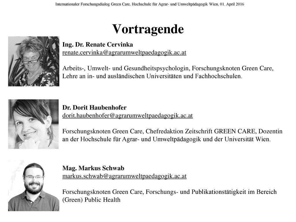 Vortragende Ing. Dr. Renate Cervinka