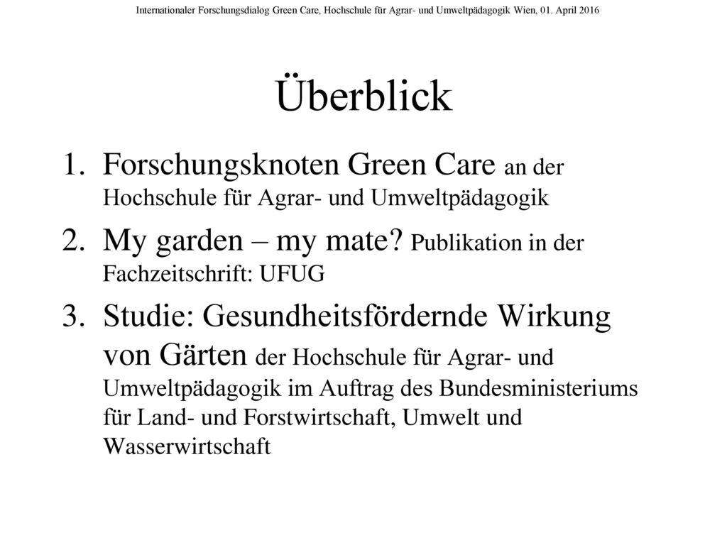 Überblick Forschungsknoten Green Care an der Hochschule für Agrar- und Umweltpädagogik.