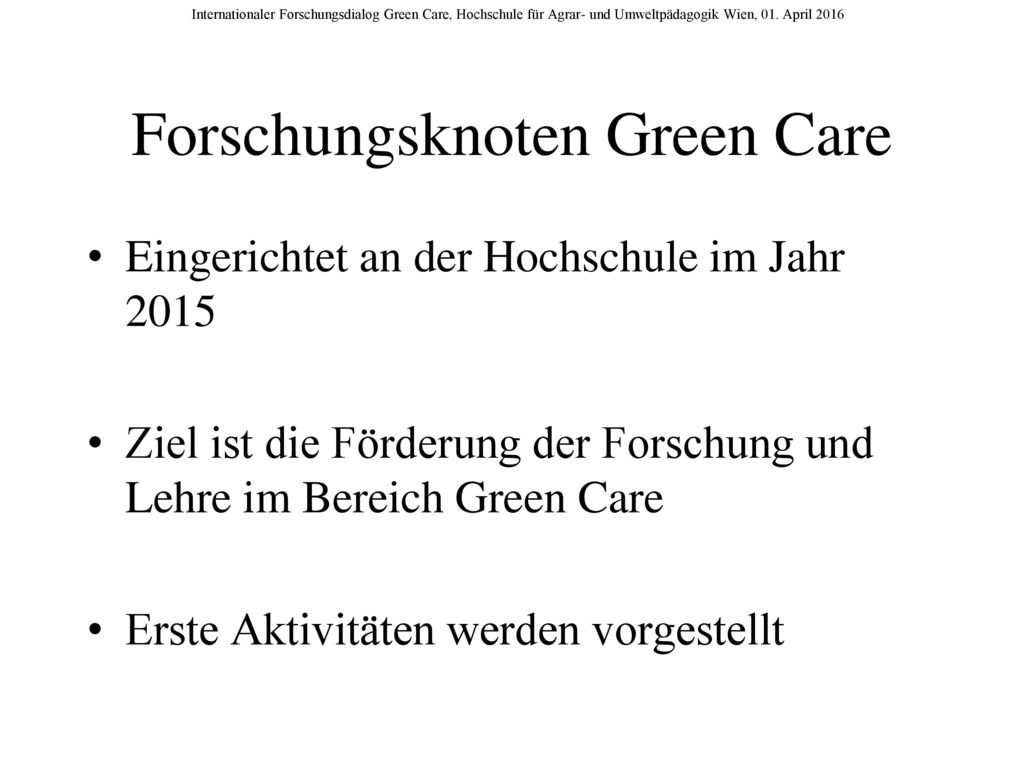 Forschungsknoten Green Care