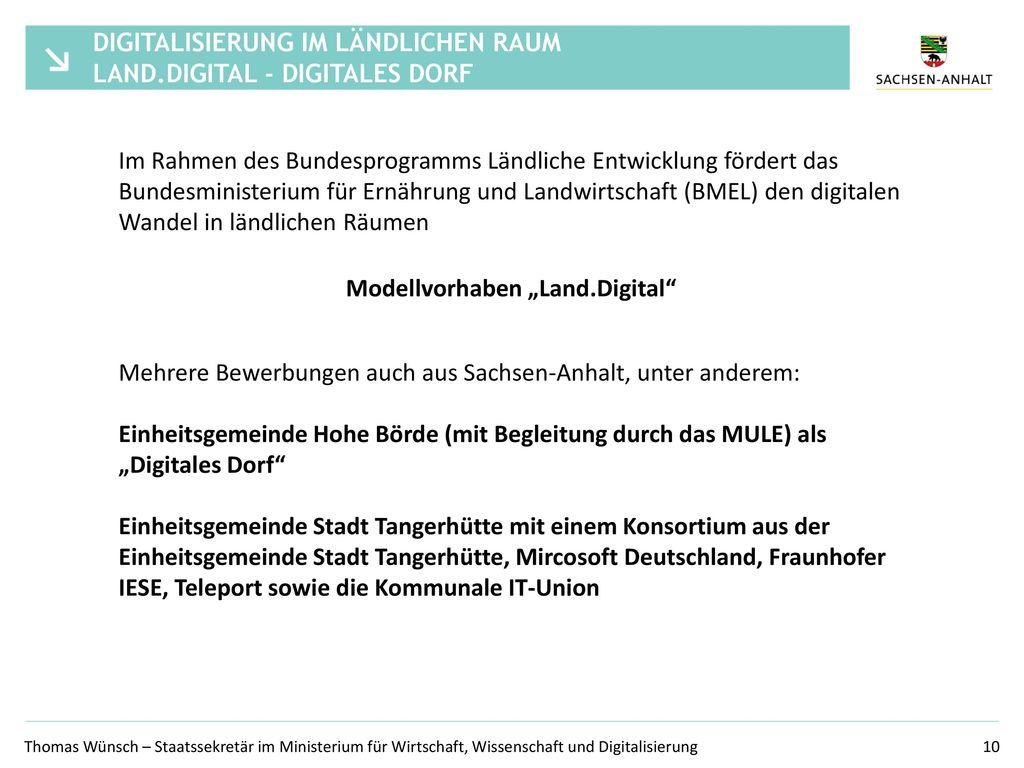 Digitalisierung im ländlichen Raum Land.digital - Digitales Dorf