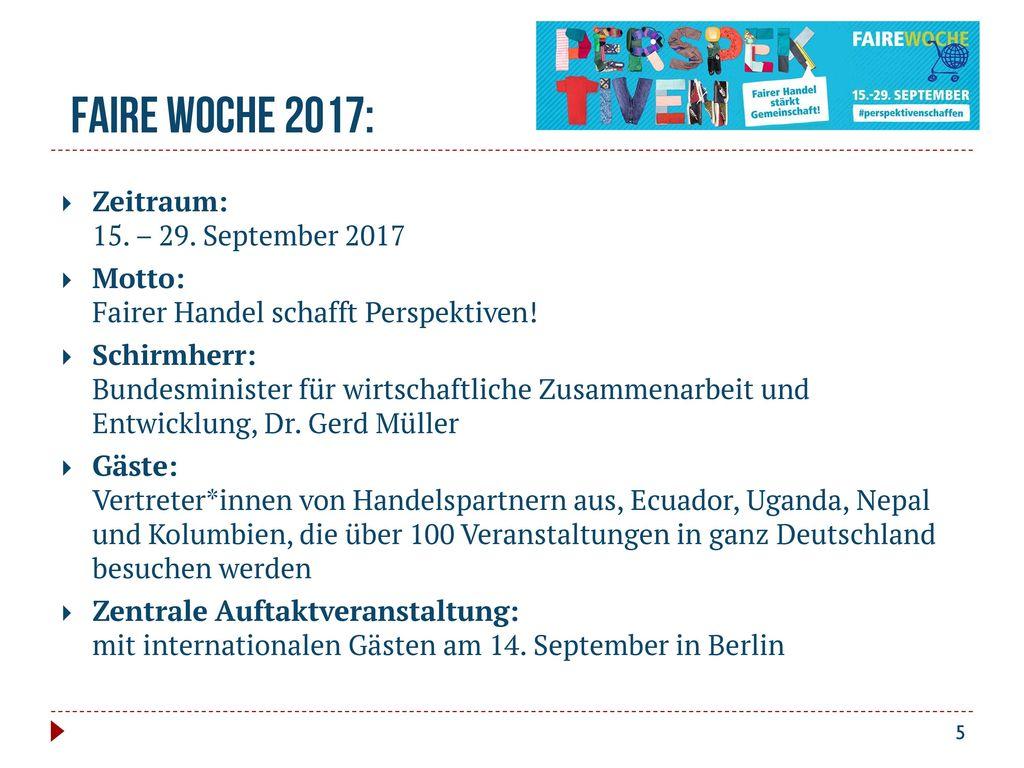 Faire Woche 2017: Zeitraum: 15. – 29. September 2017