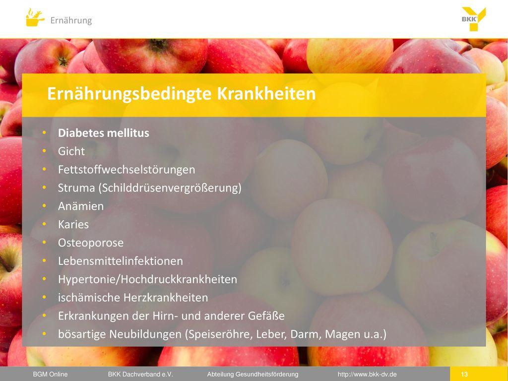 Ernährungsbedingte Krankheiten