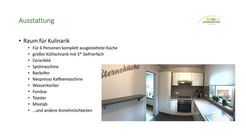 Ausstattung Raum für Kulinarik