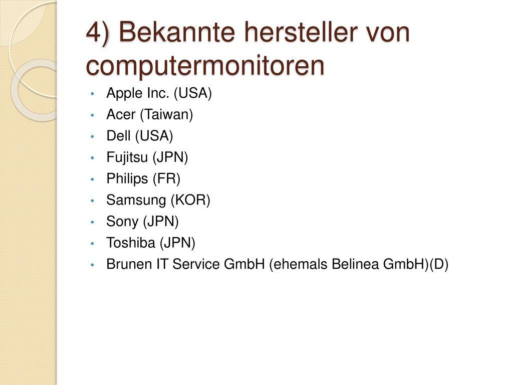 4) Bekannte hersteller von computermonitoren